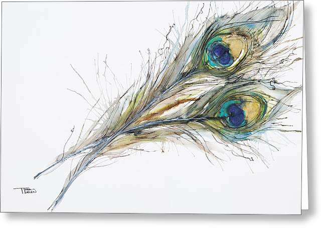 Two Peacock Feathers Greeting Card by Tara Thelen