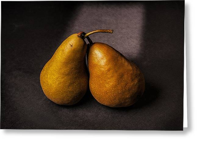 Two Pear Greeting Card by Peter Tellone