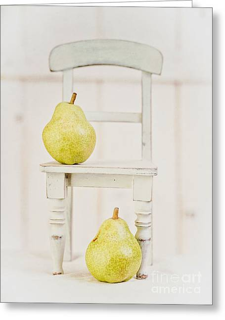 Two Pears And A Chair Still Life Greeting Card by Edward Fielding
