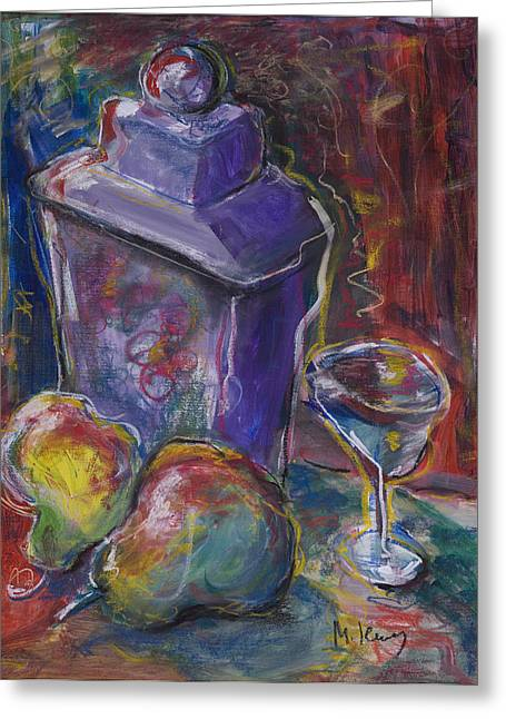 Two Pears And A Purple Jar Greeting Card