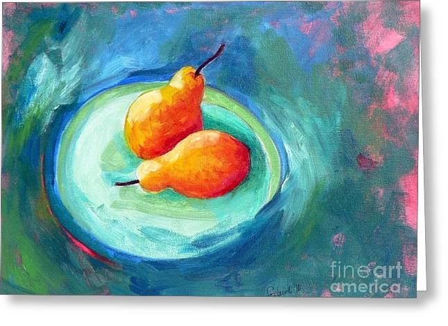 Greeting Card featuring the painting Two Pears by Elizabeth Fontaine-Barr