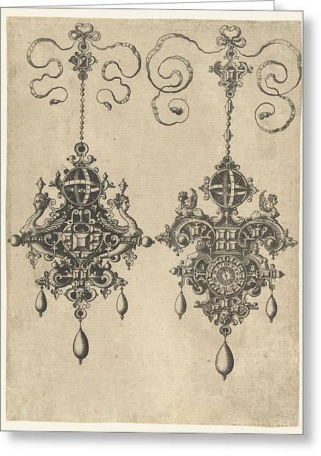 Two Pendants With Sundial, Anonymous, Hans Collaert Greeting Card