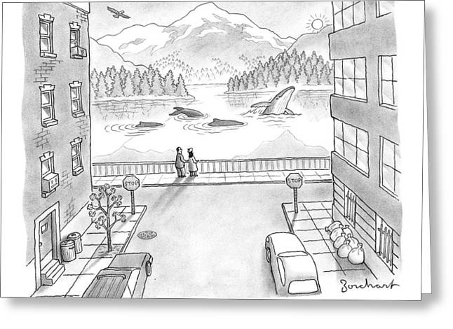 Two People In Manhattan Gaze Out At A Spectacular Greeting Card