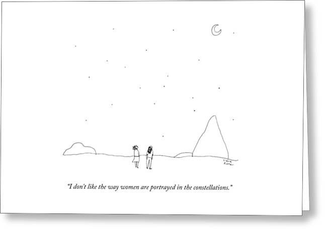 Two People Look At The Stars Greeting Card