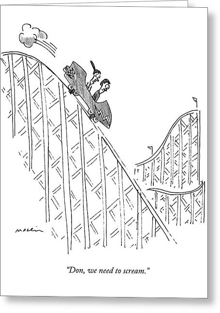 Two People Ride A Roller Coaster Greeting Card