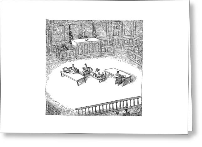 Two People Sit On A Modern-looking Curved Bench Greeting Card by John O'Brien