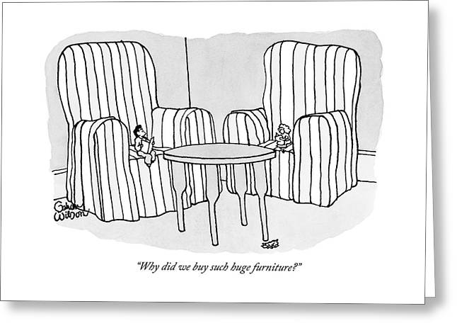 Two People Sit Upon Extremely Large Armchairs Greeting Card