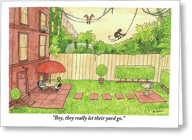 Two People Sitting On Their Back Patio Greeting Card