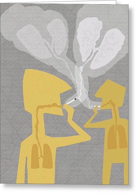 Two People Smoking Cigarettes Greeting Card by Fanatic Studio / Science Photo Library