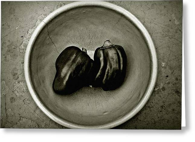 Two Peppers In A Bowl Greeting Card
