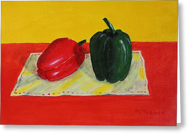 Two Peppers Greeting Card by Melvin Turner
