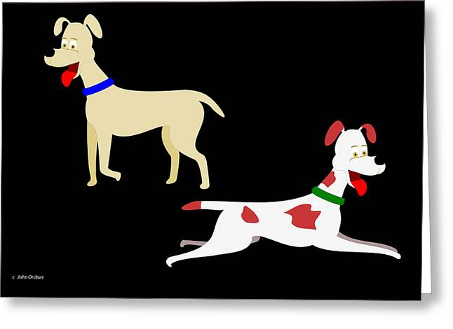 Two Pet Dogs Greeting Card