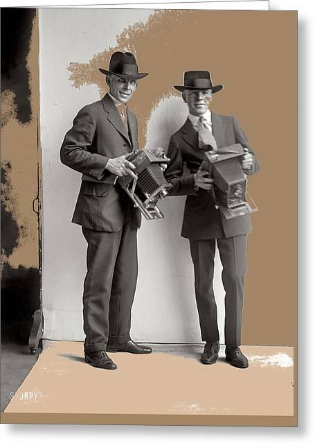 Two Photographers Washington D.c. Harris And Ewing Glass Negative C. 1919-2014 Greeting Card