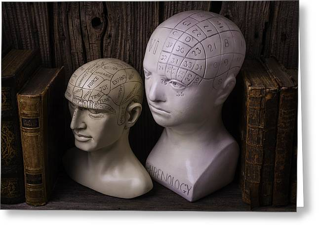 Two Phrenology Heads Greeting Card by Garry Gay