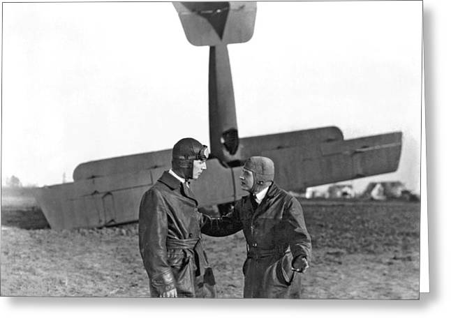 Two Pilots And A Plane Crash Greeting Card by Underwood Archives