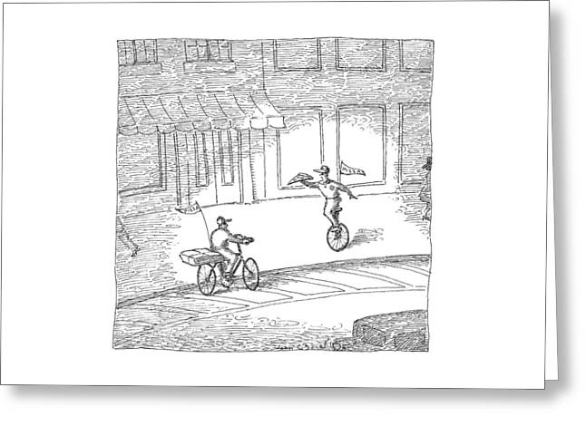Two Pizza Delivery-men Cross Each Other Greeting Card