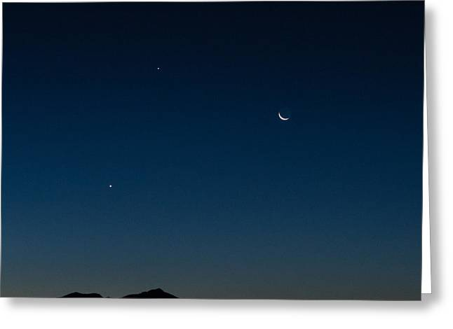 Two Planets And A Moon Greeting Card by Carolina Liechtenstein