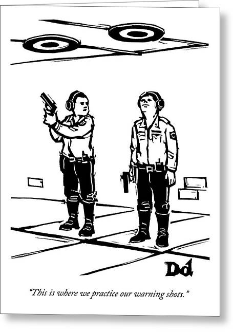 Two Policemen Talk While Standing Greeting Card