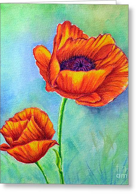 Two Poppies Greeting Card by Dion Dior
