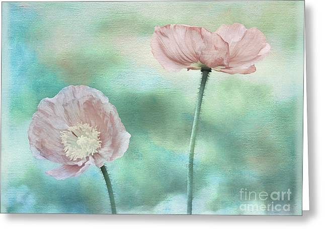 Two Poppies Textured Photograph Greeting Card by Clare VanderVeen