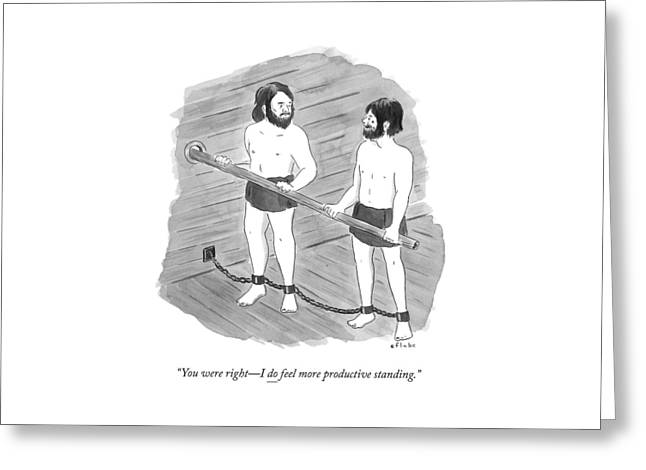 Two Prisoners On A Slave Ship Stand And Hold An Greeting Card