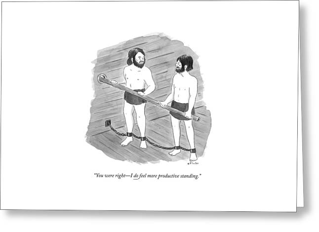 Two Prisoners On A Slave Ship Stand And Hold An Greeting Card by Emily Flake