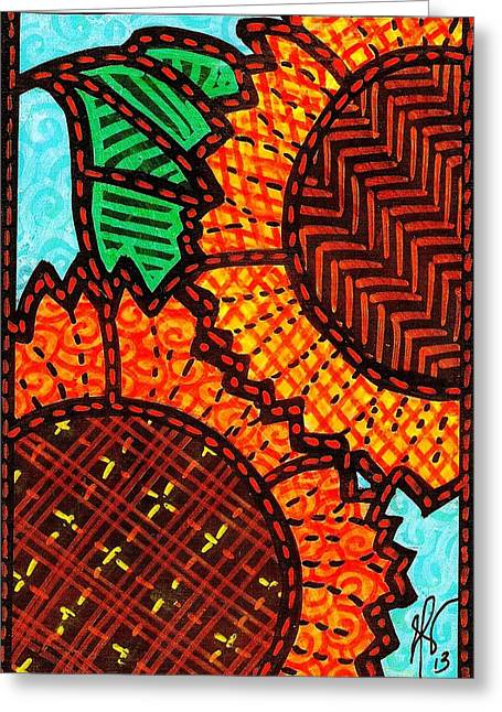 Two Quilted Sunflowers Greeting Card by Jim Harris