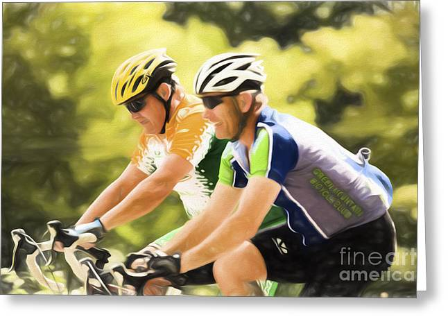 Two Racing Cyclists Greeting Card by Jan Tyler