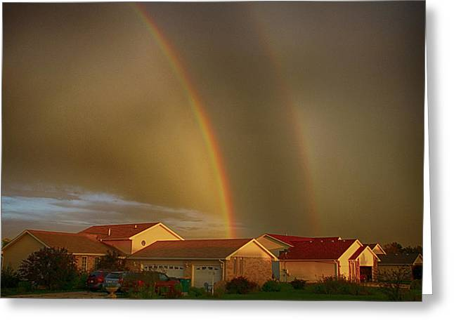 Two Rainbows Plus Two Pots Of Gold Greeting Card by Jerome Lynch