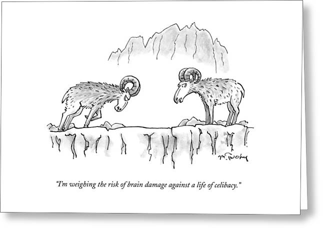 Two Rams Talk To Each Other Greeting Card