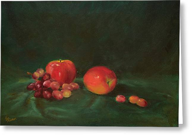 Two Red Apples And Grapes Greeting Card
