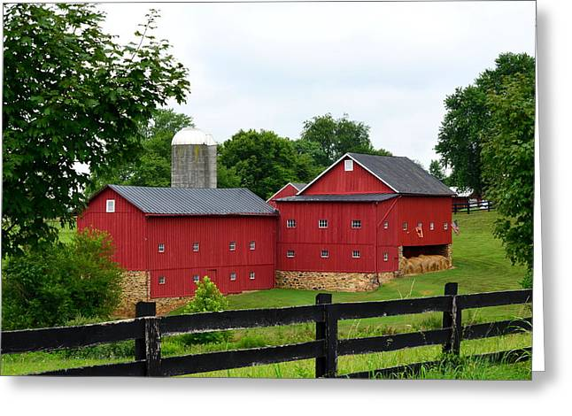 Greeting Card featuring the photograph Two Red Barns by Cathy Shiflett