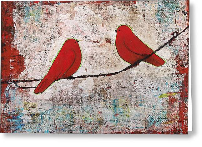 Two Red Birds On A Wire Greeting Card by Blenda Studio