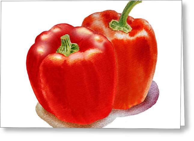 Two Red Peppers Greeting Card by Irina Sztukowski