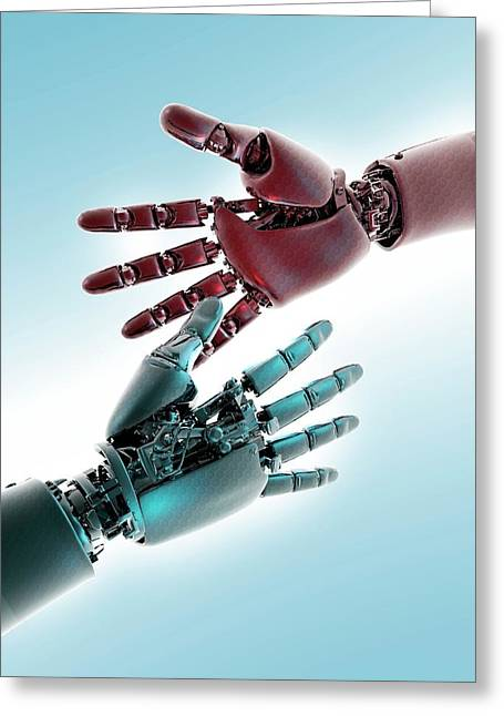 Two Robotic Hands Greeting Card by Victor Habbick Visions