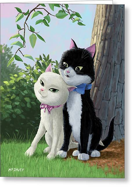 Two Romantic Cats In Love Greeting Card by Martin Davey