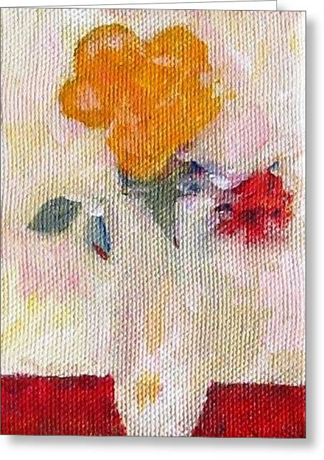Greeting Card featuring the painting Two Roses In A Vase by Anita Dale Livaditis