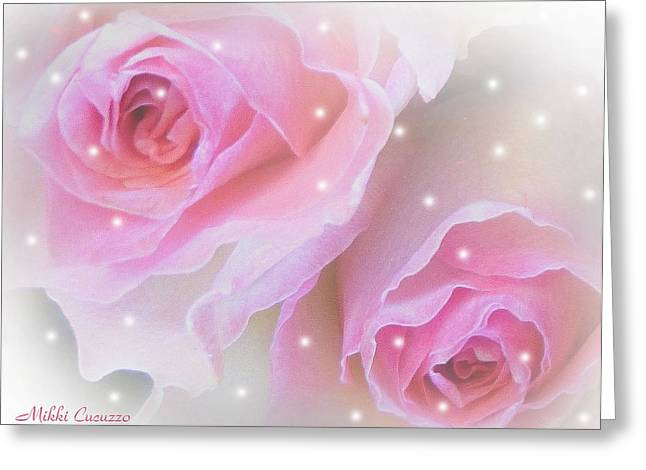 Two Roses Greeting Card by Mikki Cucuzzo