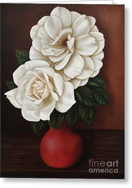 Two Roses Greeting Card by Paula Ludovino