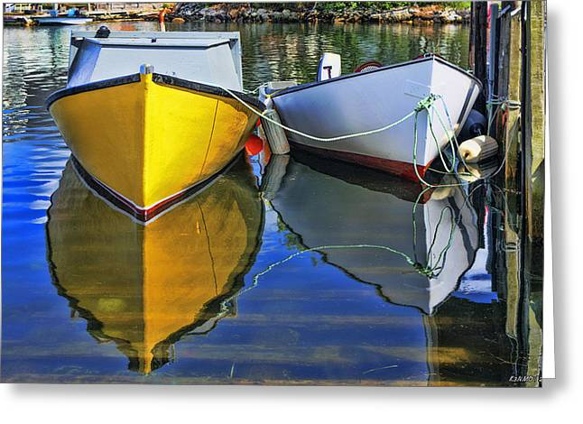 Two Row Boat At Fisherman's Cove Greeting Card by Ken Morris