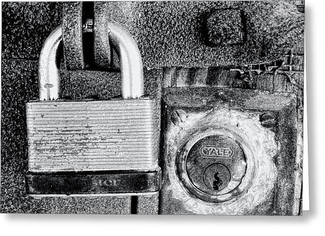 Two Rusty Old Locks - Bw Greeting Card