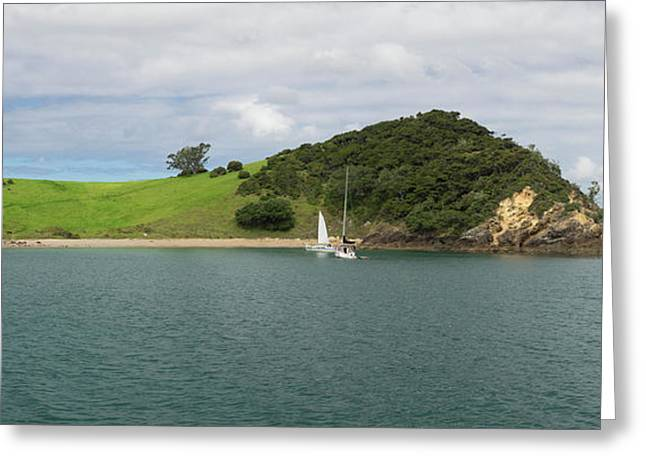 Two Sailboats Anchored At Motukiekie Greeting Card by Panoramic Images