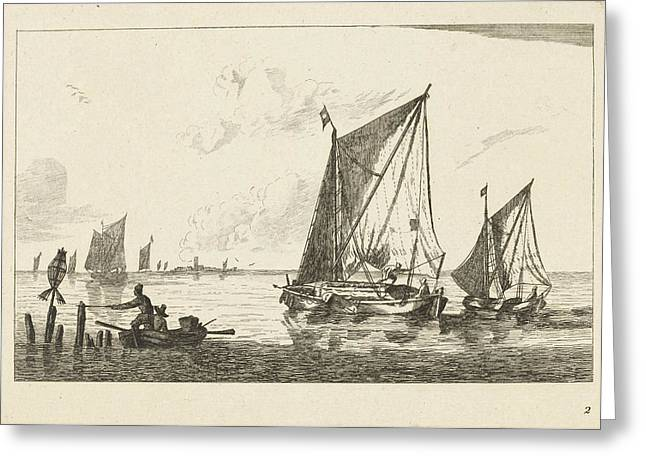 Two Sailboats And A Rowboat, Print Maker Anonymous Greeting Card