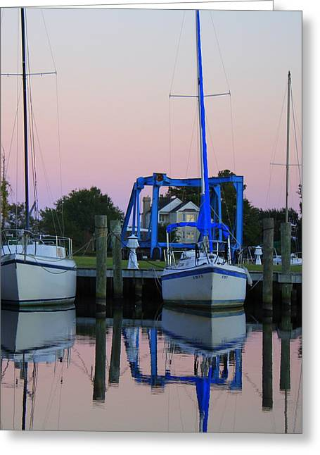 Two Sailboats At Dock Greeting Card by Carolyn Ricks