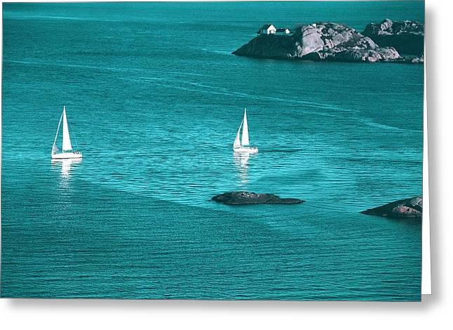 Two Sailboats Greeting Card