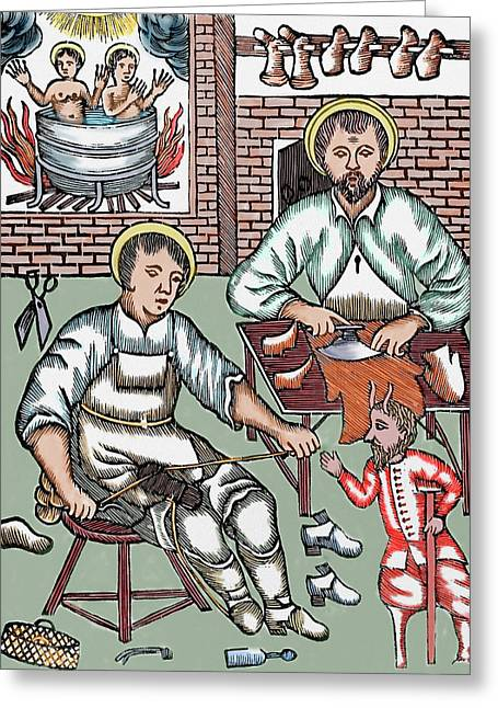 Two Saints Make Shoes Being Tempted Greeting Card