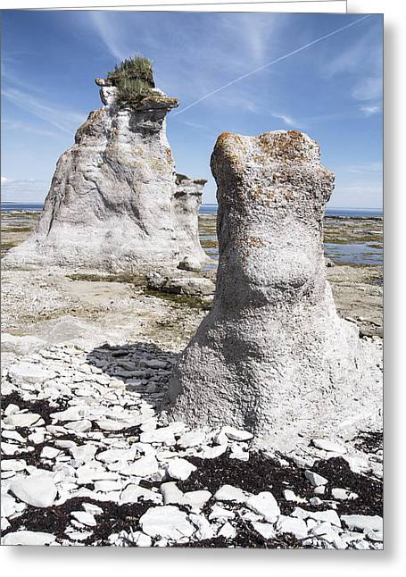 Greeting Card featuring the photograph Two Sculpted Rocks On Naked Isld by Arkady Kunysz