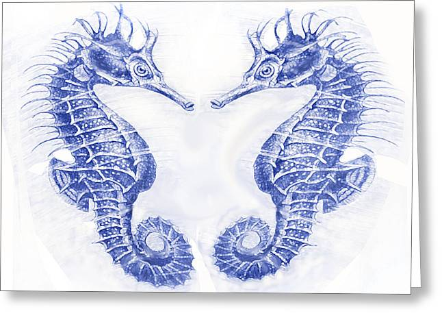 Two Seahorses- Blue Greeting Card by Jane Schnetlage