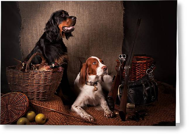 Two Setters... Greeting Card by Tanya Kozlovsky