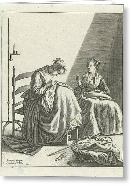 Two Sewing Women, Geertruydt Roghman, Johannes Covens Greeting Card by Geertruydt Roghman And Johannes Covens And Cornelis Mortier